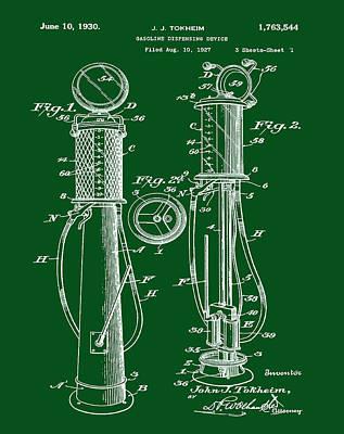 Petrol Green Digital Art - 1930 Gas Pump Patent In Green by Bill Cannon