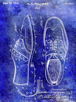1930 Golf Shoe Patent Blue Art Print
