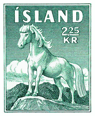 Iceland Horse Wall Art - Digital Art - 1930 Iceland Pony Postage Stamp by Retro Graphics