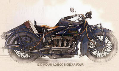 1930 Indian 1265cc  Sidecar Four Original by Don Kuing