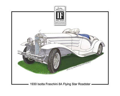 Painting -  Isotta Fraschini 8a Flying Star Roadster by Jack Pumphrey