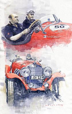 Painting - 1930 Mercedes-benz 710 Ss Johen Mass  Millemiglia 2015  by Yuriy Shevchuk