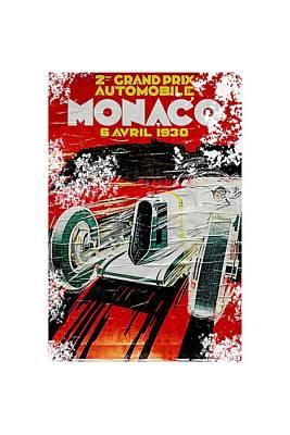 Digital Art - 1930 Monaco Grand Prix Poster by Roger Lighterness