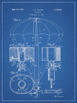 Extremes Drawing - 1930 Parachute Patent by Dan Sproul