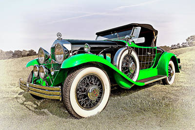 Vintage Car Photograph - 1930 Willys Knight 66b-plaidside by Marcia Colelli