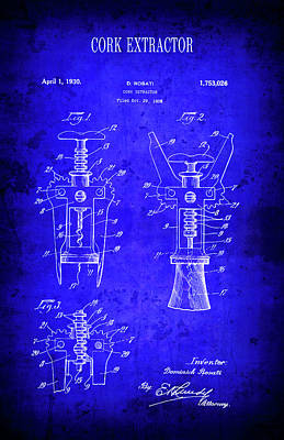 1930 Wine Cork Extractor Patent Blueprint Art Print by Daniel Hagerman