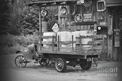 Photograph - 1930s Gas Stop Bw by Ansel Price