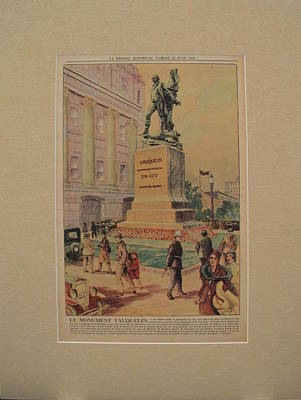 Montreal Cityscapes Drawing - 1930s Original Montreal Canadian La Presse Newspaper, Statue Of Jean Vauquelin  by Eugene Benet