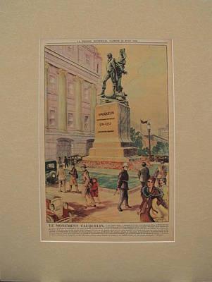 Montreal Buildings Drawing - 1930s Original Montreal Canadian La Presse Newspaper, Statue Of Jean Vauquelin  by Eugene Benet