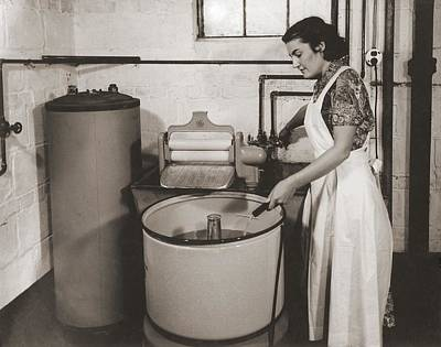 Clothes Washing Photograph - 1930s State Of The Art Home Laundry by Everett