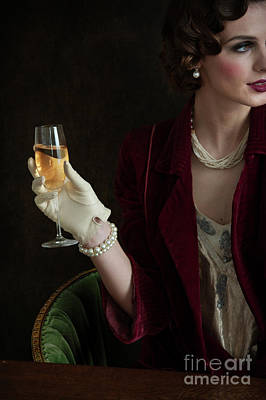 Photograph - 1930s Woman Drinking Champagne by Lee Avison