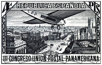 Painting - 1931 Airplane Over Calle De Alcala, Spain by Historic Image