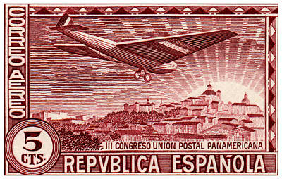 Painting - 1931 Airplane Over Madrid Spain Stamp by Historic Image