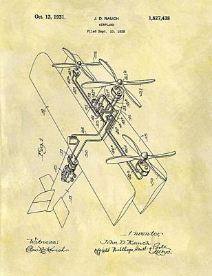 Aviator Mixed Media - 1931 Airplane Patent by Dan Sproul