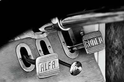 Photograph - 1931 Alfa Romeo 6c 1750 Gran Sport Aprile Spider Corsa Pedals -3689bw by Jill Reger