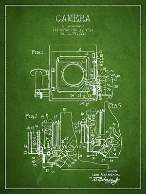 1931 Camera Patent - Green Art Print by Aged Pixel