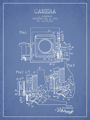 1931 Camera Patent - Light Blue Art Print