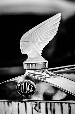 Photograph - 1931 Delage D8 Sports Tourer Lalique Hood Ornament -1433bw by Jill Reger