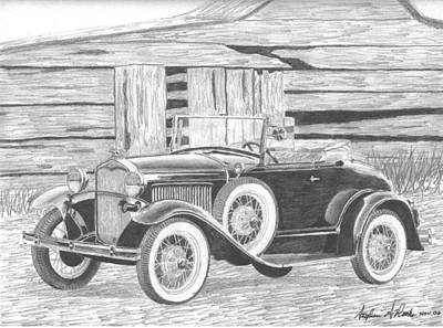 Ford Model A Drawing - 1931 Ford A Model Convertible Classic Car Art Print by Stephen Rooks
