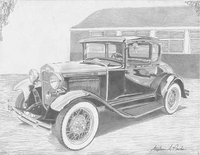 Ford Model A Drawing - 1931 Ford A Model Coupe Classic Car Art Print by Stephen Rooks