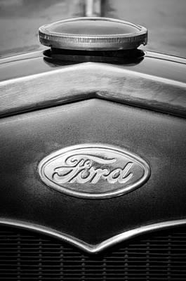 Photograph - 1931 Ford Emblem -0376bw1 by Jill Reger