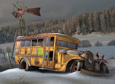 Digital Art - 1931 Ford School Bus by Stuart Swartz