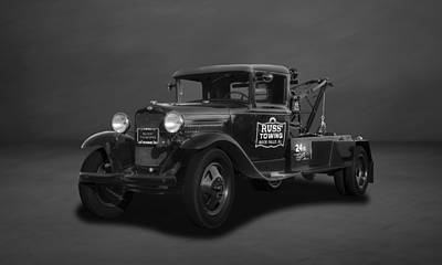 Photograph - 1931 Ford Wrecker-tow Truck  - 4bw by Frank J Benz