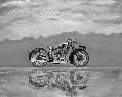 Painting - 1931 Matchless Silverhawk Bw by John Lyes
