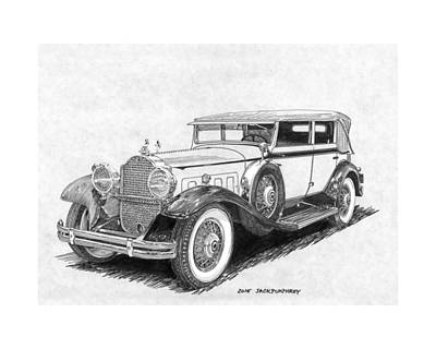 Drawing - 1931 Packard Custom Convertible Sedan by Jack Pumphrey
