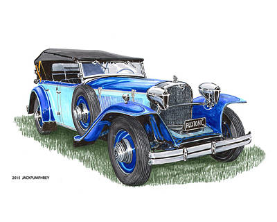 Car Art Drawing - Classic 1931 Ruxton C Dual Cowl Phaeton by Jack Pumphrey