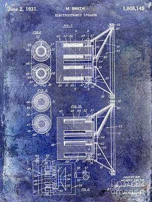 1931 Speaker Patent Drawing Blue Art Print by Jon Neidert