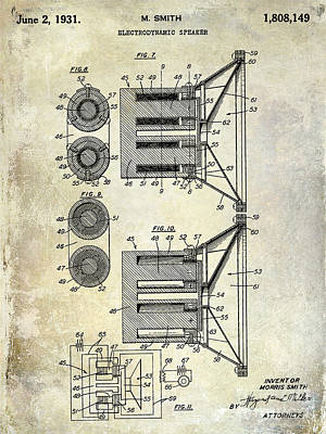 1931 Speaker Patent Drawing  Art Print by Jon Neidert