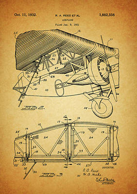 Airplane Mixed Media - 1932 Airplane Patent by Dan Sproul