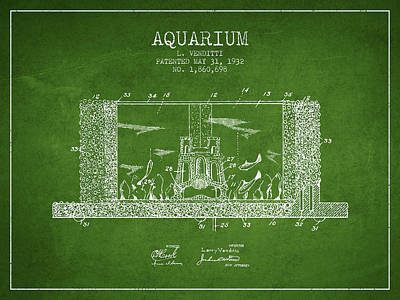 Reptiles Royalty-Free and Rights-Managed Images - 1932 Aquarium Patent - Green by Aged Pixel
