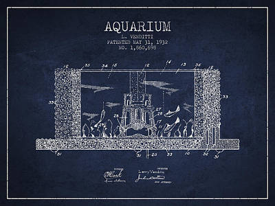 Turtle Drawing - 1932 Aquarium Patent - Navy Blue by Aged Pixel