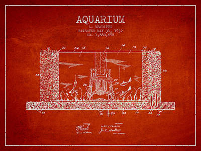 Turtle Drawing - 1932 Aquarium Patent - Red by Aged Pixel