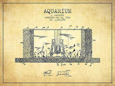 1932 Aquarium Patent - Vintage Print by Aged Pixel