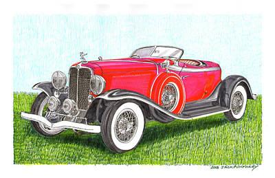 Painting - 1932 Auburn Speedster 8 100 by Jack Pumphrey