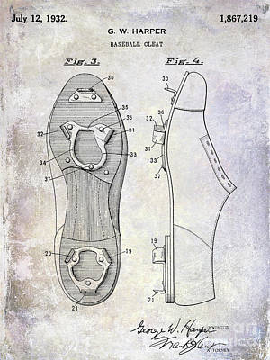 1932 Baseball Cleats Patent Art Print by Jon Neidert