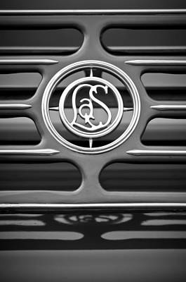 Photograph - 1932 Cadillac Lasalle Emblem -1961bw by Jill Reger