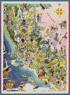 Sacramento Photograph - 1932 Caricature Map Of California by Jon Neidert