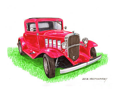 Painting - 1932 Chevrolet Restro Rod by Jack Pumphrey