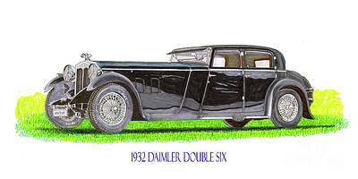 Painting - 1932 Daimler Double 6 40 50 by Jack Pumphrey