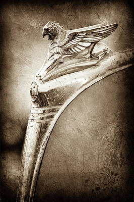 Griffin Photograph - 1932 Essex Griffin Hood Ornament -0447s by Jill Reger