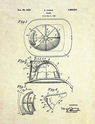 1932 Firefighter Helmet Patent Art Print by Gary Bodnar