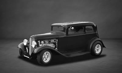 Photograph - 1932 Ford 5-window Sedan  -  4bw by Frank J Benz