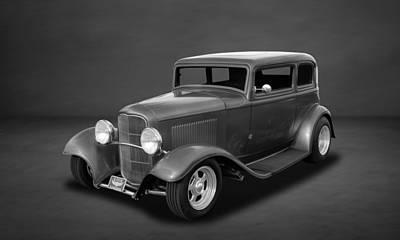 Photograph - 1932 Ford 5-window Sedan  -  Bw  -  4 by Frank J Benz