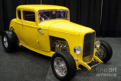 1932 Ford 5 Window Coupe . Yellow . 7d9275 Art Print