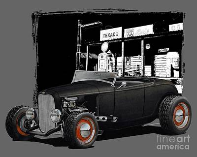 1932 Ford At Gas Station Art Print