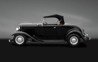 Photograph - 1932 Ford Convertible Coupe Roadster  -  1932convertfordroadstergray184430 by Frank J Benz
